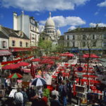 Market Stalls And Outdoor Cafes In The Place Du Tertre, With The Sacre Coeur Behind, Montmartre, Paris, France, Europe