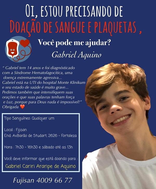 Doação De Sangue E Plaquetas Para Gabriel Aquino